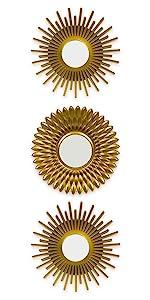 Pack med 3 guld plast speglar med öglebult att hänga den på väggen