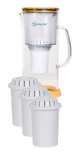 Alkaline Water Glass Pitcher of Life with Pack of 3 F004 Replacement Filters