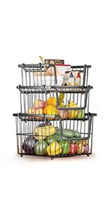 3 Tier Stackable Metal Wire Storage Basket