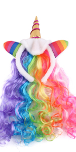 Rainbow Unicorn Wig For Girls Kids Birthday Cosplay Wig Headband for Party Costumes Accessories