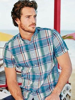 coofandy mens short sleeve plaid shirts blue black check shirts with pocket
