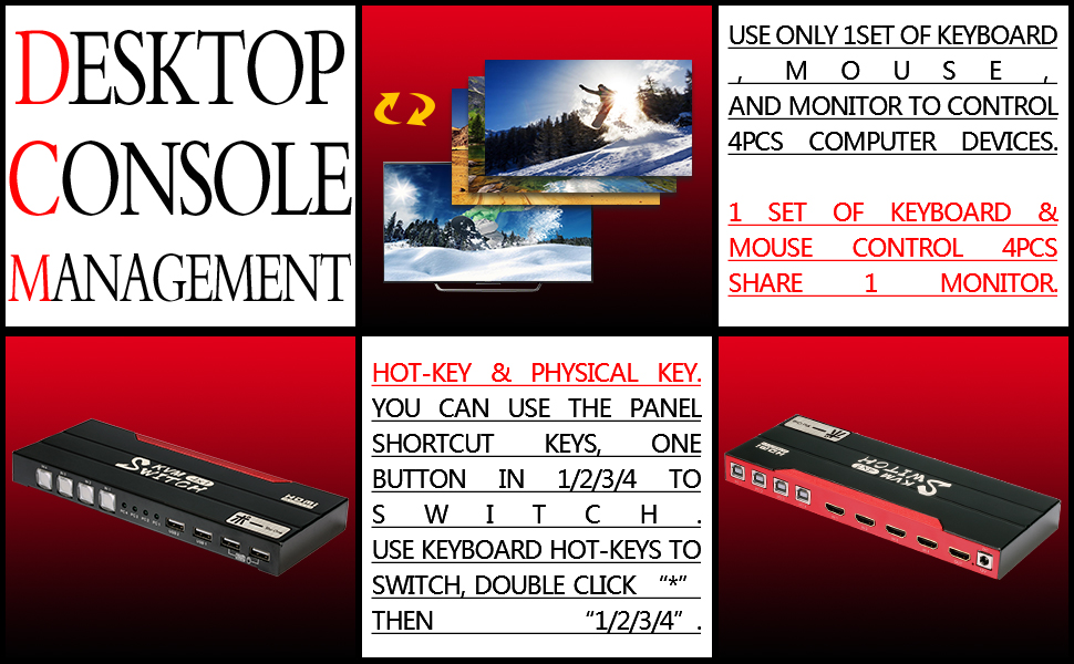 1 set of keyboard and mouse control 4 PCS
