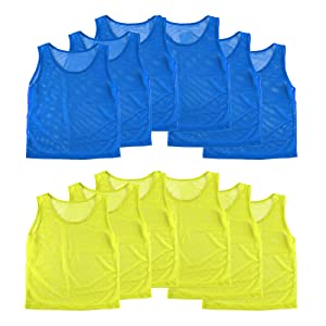 Pinnies Scrimmage Vests Team Practice Jersey, lightweight Pennys, yellow and blue practice vests