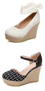 Women Closed Toe Espadrille Platform Wedge Sandals