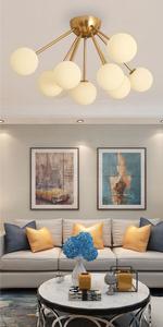 9-Lights Modern Globe Semi Flush Mount Ceiling Light