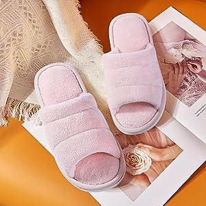 Velvet terry cloth slippers