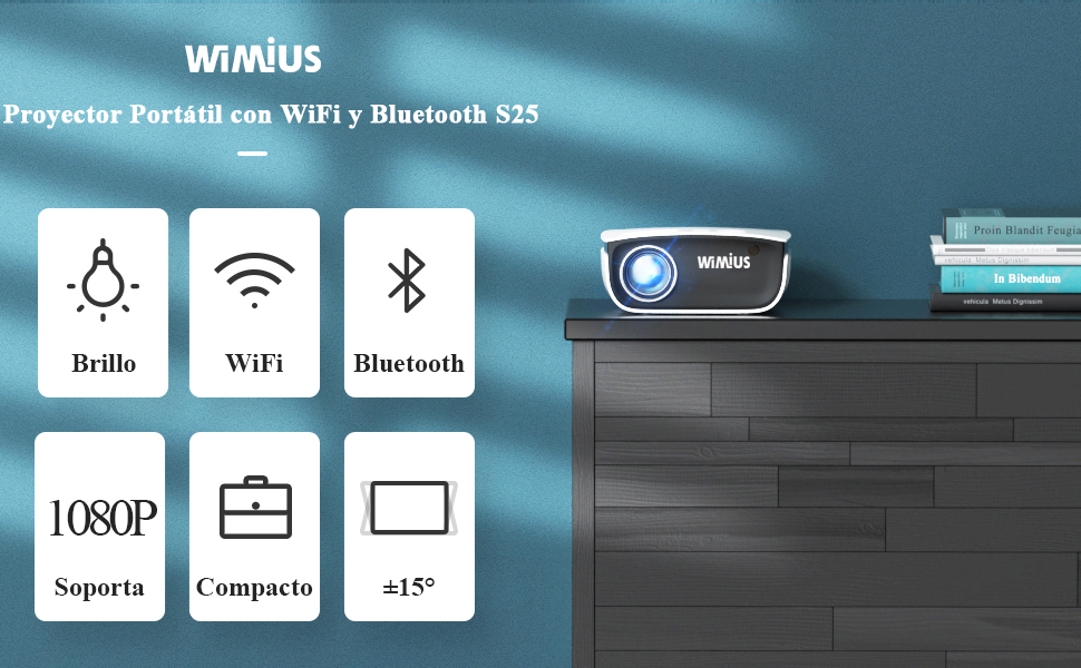 WiMiUS Proyector WiFi Bluetooth