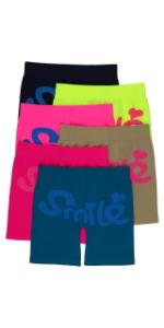 girls pack of six SMILE layering shorts long boyshorts
