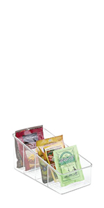 Clear Plastic Sloped Kitchen Pantry Bin Packet Holder with 4 Sections Containing Dry Food Snack Bags