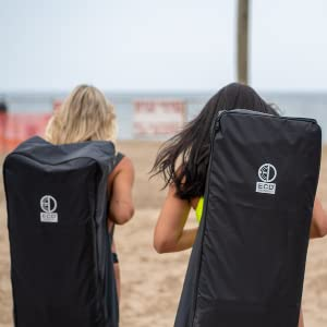 Adults Carrying iSUP Water resistant Backpack to Beach with Friends