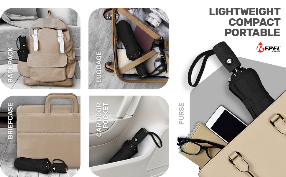 Compact umbrella fits in purses, backpacks, luggage, cars, and briefcases