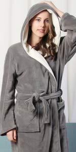 KEMUSI Hood Womens Grey Full Length Bathrobe