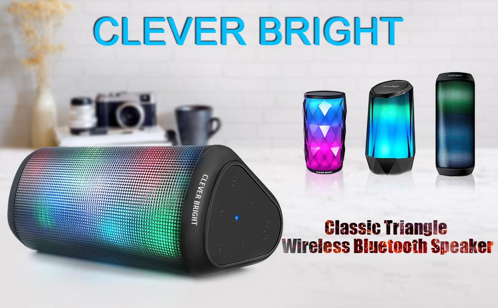 CLEVER BRIGHT Classic Triangle Portable Wireless Bluetooth Speaker