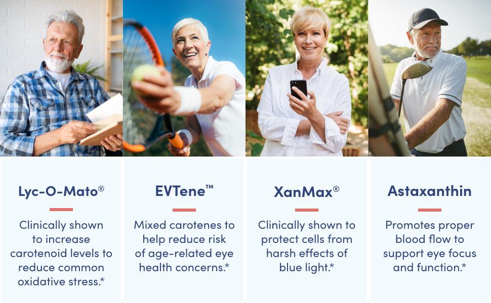 lyc-o-mato, EVTene, XanMax, Astaxanthin. Reduce oxidative stress and risk of eye concerns