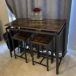 Table is sturdy and light weight. Compact and stow away perfect for small apartments