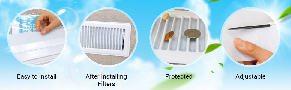 installing an air filter into a vent. Filter inside of an air vent. Adjusting filter size.