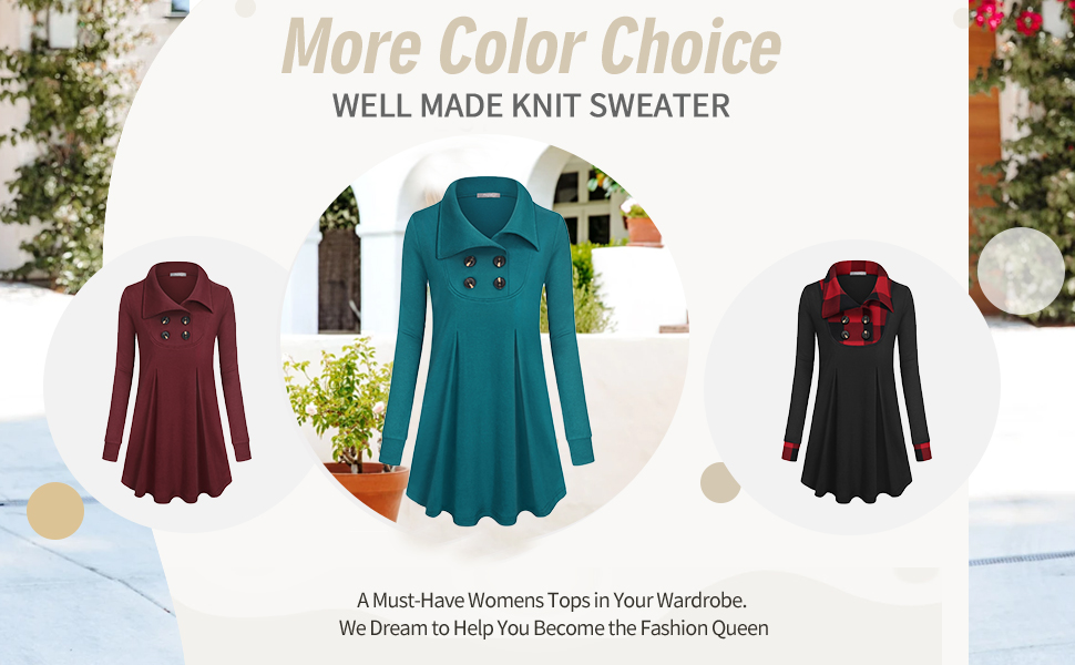women tunics with buttons long sleeve tunic sweater for women winter lapel pullover Christmas