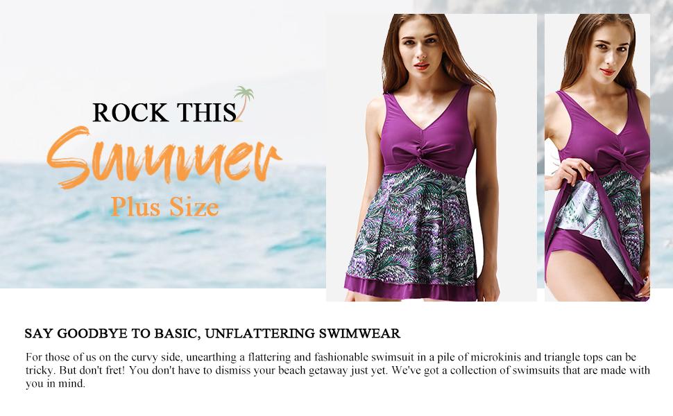 Wantdo Women's Plus Size Swim Dress