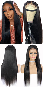 4*4 straight lace front human hair wig