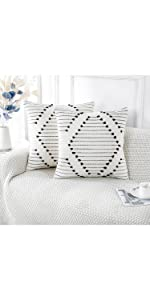 PANOD Pack of 2 Boho Tufted Throw Pillow Covers with Tassel