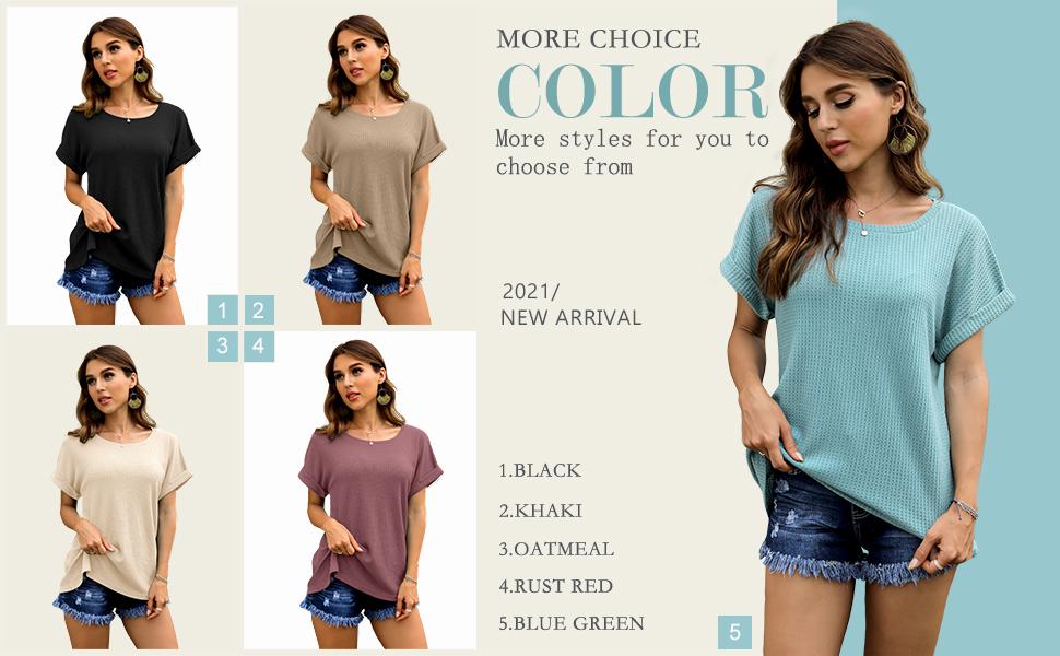 IWOLLENCE Women Waffle Knit Casual T Shirt Summer Short Sleeve Loose Blouse
