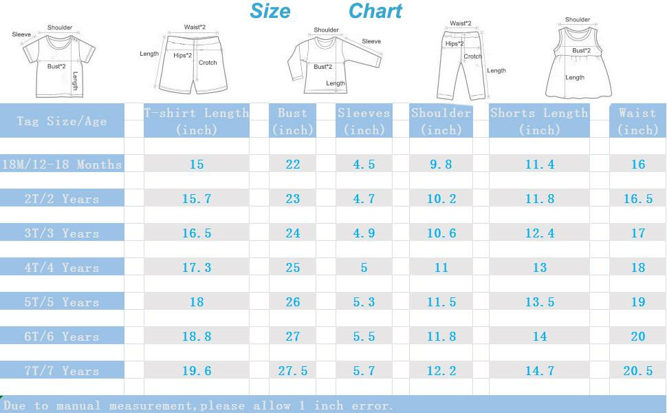 size chart for shorts sets