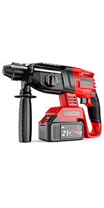 WAKYME 21V Brushless Cordless Demolition Hammer Impact Rotary Hammer Drill