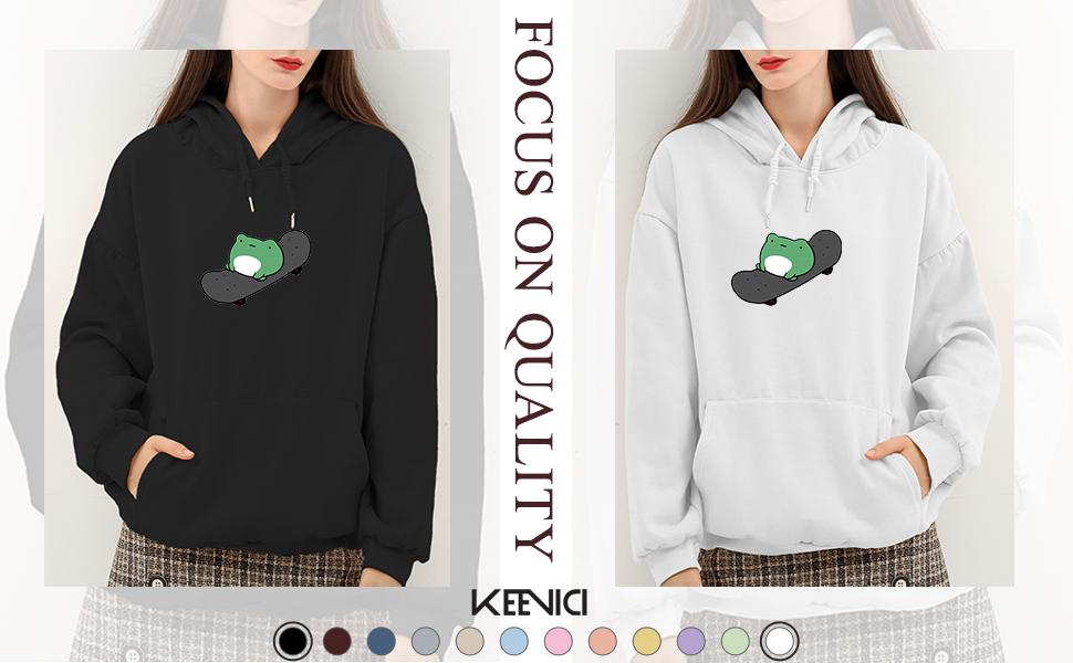 KEEVICI Girls Kawaii Frog Graphic Hoodie Cotton Sweatshirts Pullover Hooded Sweater Top