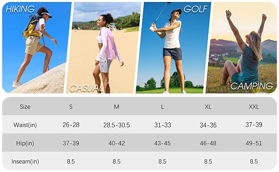 womens hiking cargo shorts for travel casual camping