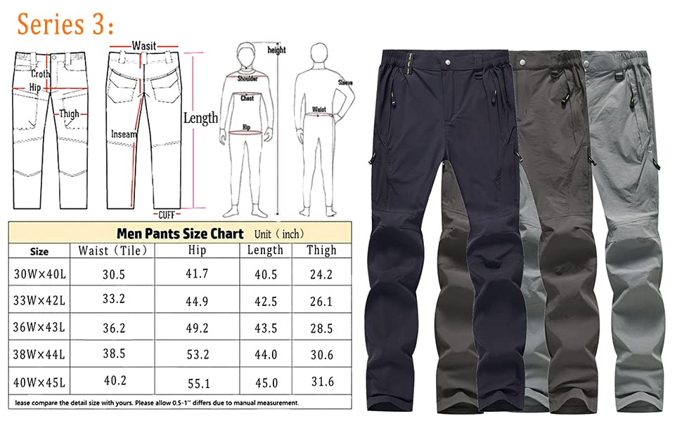 Men's Work Pant Stretch Quick Dry Zip Off Hiking Pants Cargo Pants for Outdoor Mountain Jogging