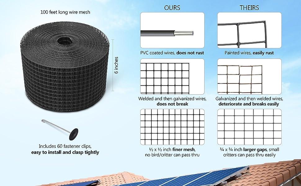 finer mesh, does not rust, does not break