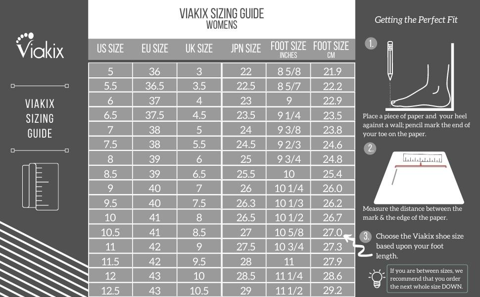 Viakix Womens Sandals Sizing Guide