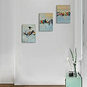 Birds on a Wire Wall Art Modern Painting Watercolor Picture Set of 3 Classic Canvas Prints