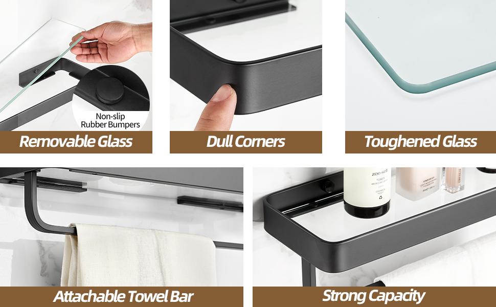 Tempered Glass Bathroom Shelf