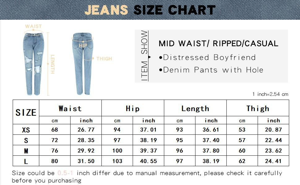 Women 's Mid Waist Ripped Jeans Casual Distressed Boyfriend Denim Pants with Hole