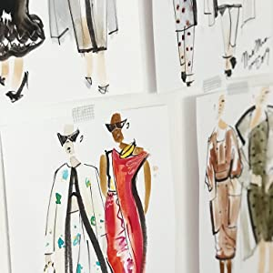 Hand drawn images of dresses for dressmaking