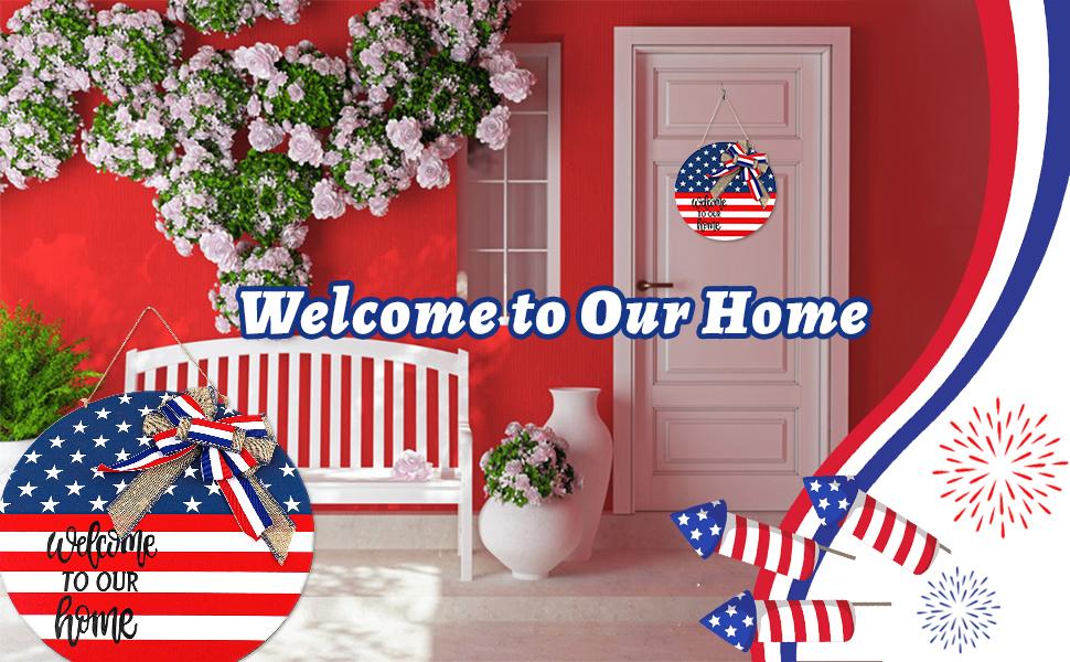 4th of July Welcome Door Sign