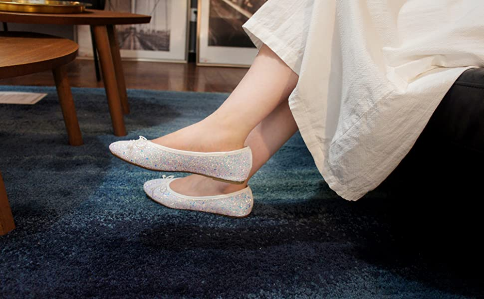 gold ballet ROSE GLITTER SPARKLE SPARKLY FLAT SHOE BING SHINY METALLIC BOW CUTE WEDDING BRIDE