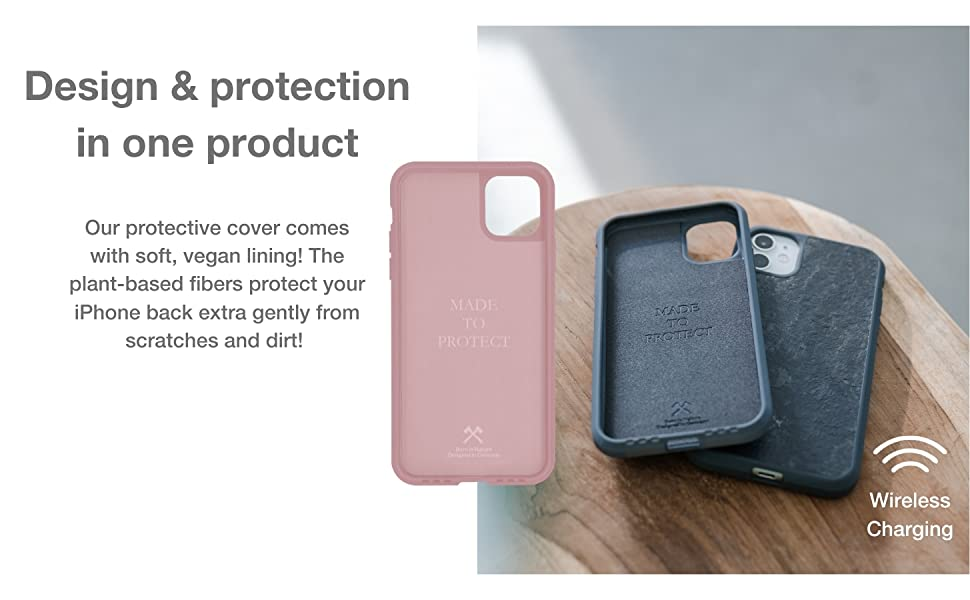 Design and protection in one product, vegan lining, plant-based
