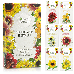 The OwnGrown sunflower seeds set with six varieties of sunflowers.