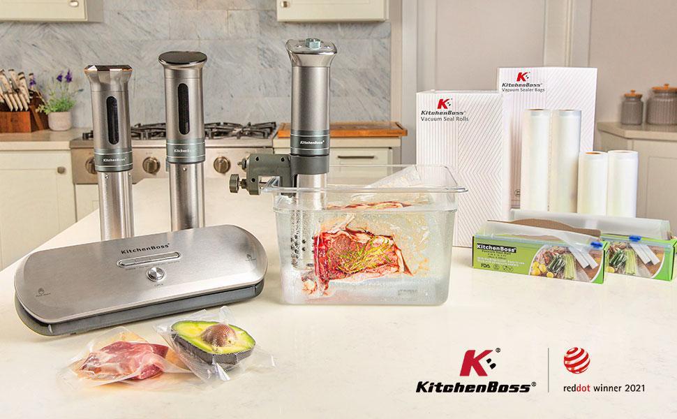 Amazon De Kitchenboss Sous Vide Garer Stick Prazisionskocher 1100w 360 Zirkulation 40 90 Temperaturbereich 0 1 C Ipx7 Wasserdicht Led Display Inkl 10 Stk Vakuumbeutel