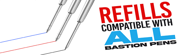 bastion bolt action pen red blue black ink refill cartridge stainless steel copper brass titanium