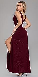 V-Neck Glitter Dress Side Split Evening Dress