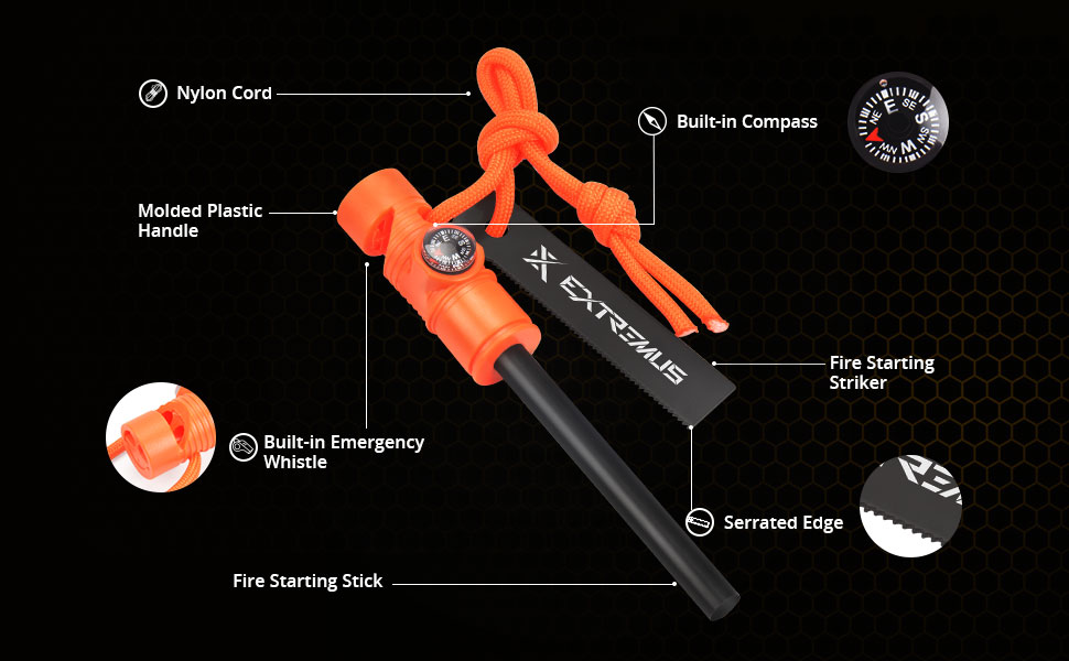 Extremus 6-in-1 Magnesium Fire Starter with Striker