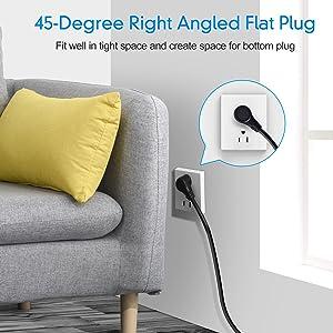 45-Degree Right Angle Flat Plug