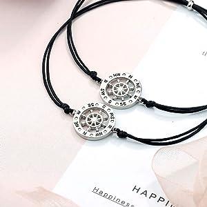 compass wish friendship best friends bracelets couples adjustable bracelets set