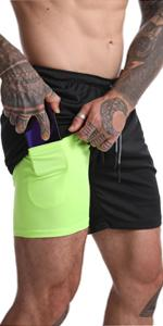 Mens 2-in-1 Workout Shorts