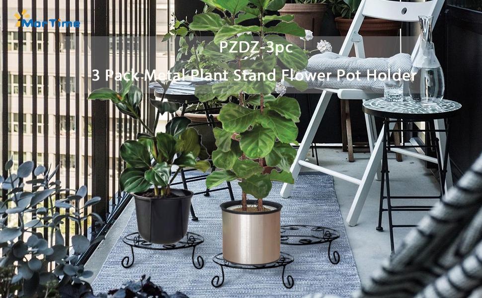 MorTime 3 Pack Metal Plant Stand Flower Pot Holder