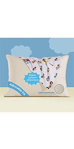organic toddler pillow with cartoon pillowcase