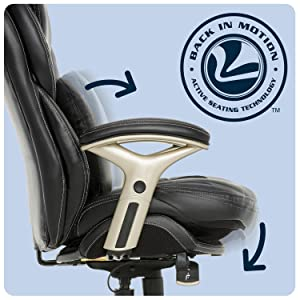 Back-in-motion technology features pivoting lumbar and seat.